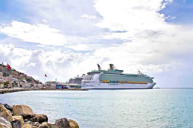 Big cruise liners in the port of kusadasi, turkey, on the aegean