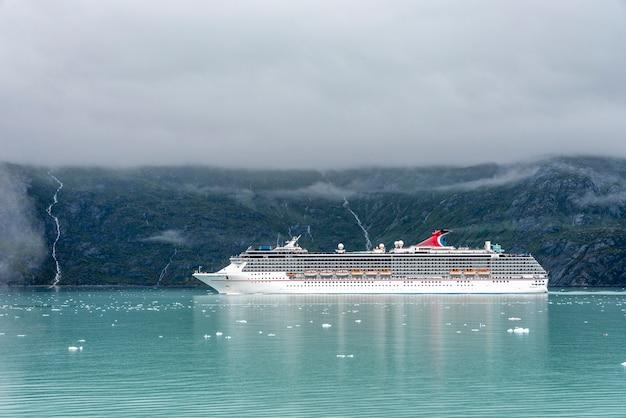 Big cruise passenger ship in alaska