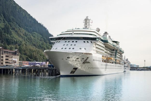 Big cruise ship in alaska pier