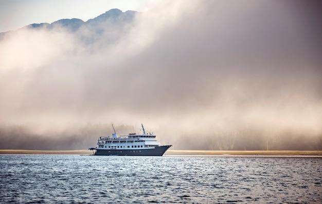 Big cruise ship in an ocean in alaska