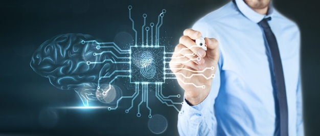 빅 데이터 및 인공 지능 개념. 3d 일러스트레이션