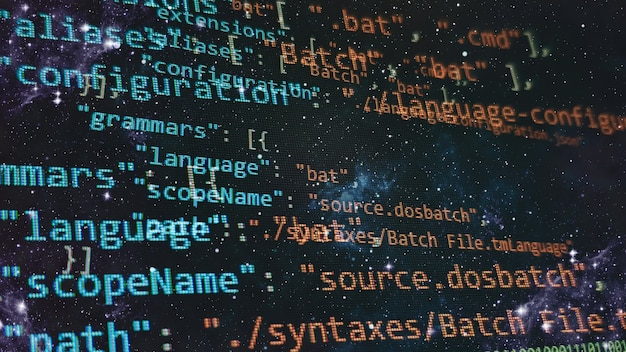 빅데이터와 사물인터넷 트렌드. 파이썬 코드 컴퓨터 화면. 모바일 응용 프로그램 디자인 개념입니다.