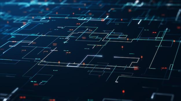 Концепция больших данных. шаблон концепции двоичного кода и структура больших данных. абстрактный фон технологии облачных вычислений. защита базы данных и безопасная передача информации в сети блокчейн.