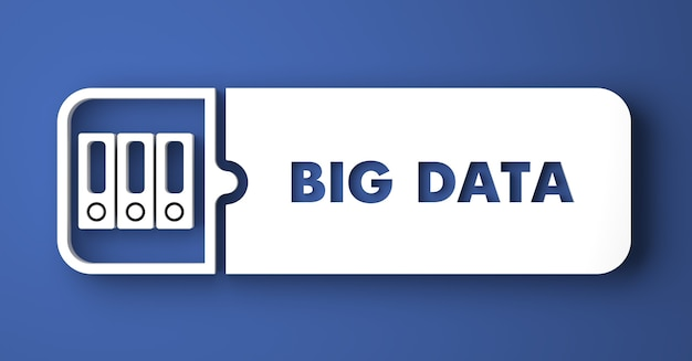 Big data concept. white button on blue background in flat design style.