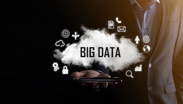Big data.padlock,brain,man,planet,graph,magnifier,gears, cloud, grid, document, letter, phone icon.