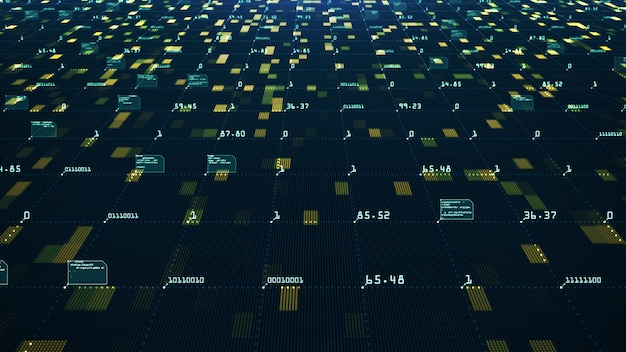 빅 데이터 시각화 개념. 기계 학습 알고리즘. 정보 분석. 연결성을 전달하는 기술 데이터 및 이진 코드 네트워크