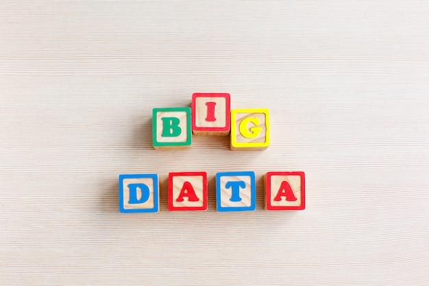 Big data word written on wood block