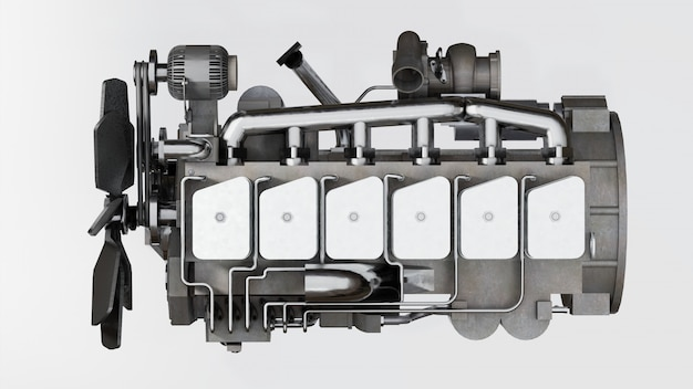 A big diesel engine with the truck depicted. 3d rendering.