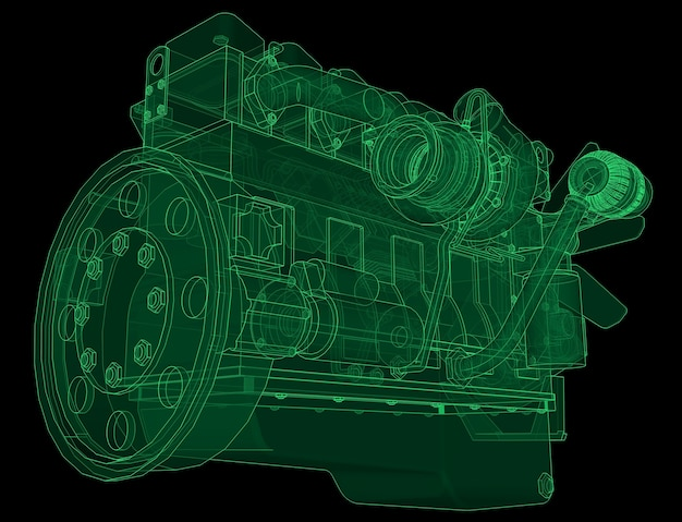 A big diesel engine with the truck depicted in the contour lines on graph paper. the contours of the green line on the black background.