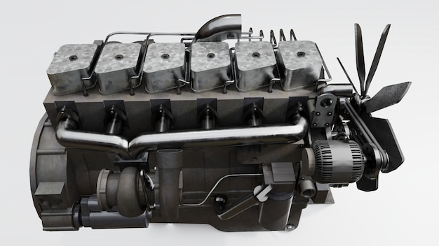 A big diesel engine with the truck depicted