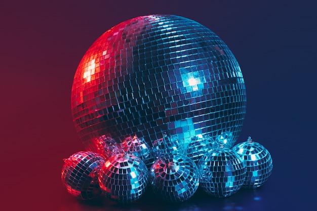 Big disco ball close up