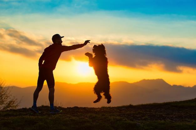 カラフルな夕日の山々を背景に男のシルエットからビスケットを取るためにジャンプする大きな犬