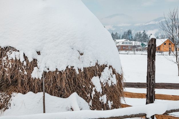 Big dry haystack covered with snow cap. winter rural landscape, farm or village, snow-capped mountains and forest