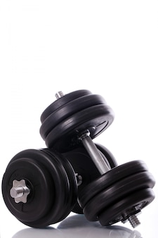Big dumbbells over white