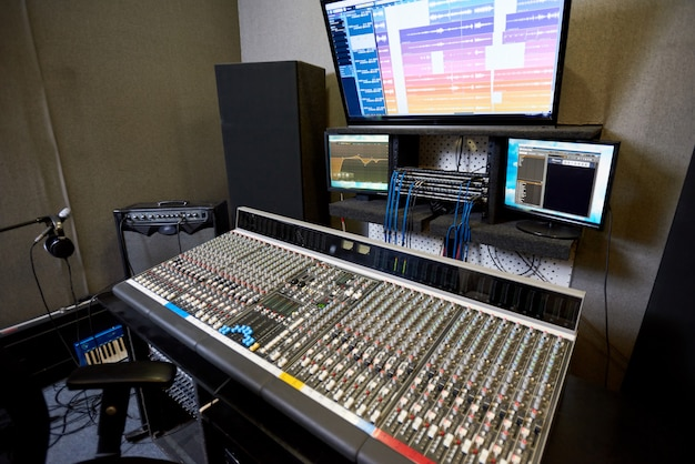 Big electronic console in studio