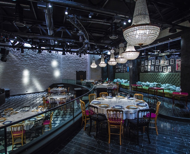 Big event hall interior restaurant