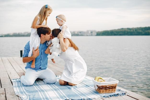 Big family near lake