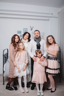 Big family with four daughters spend time at home