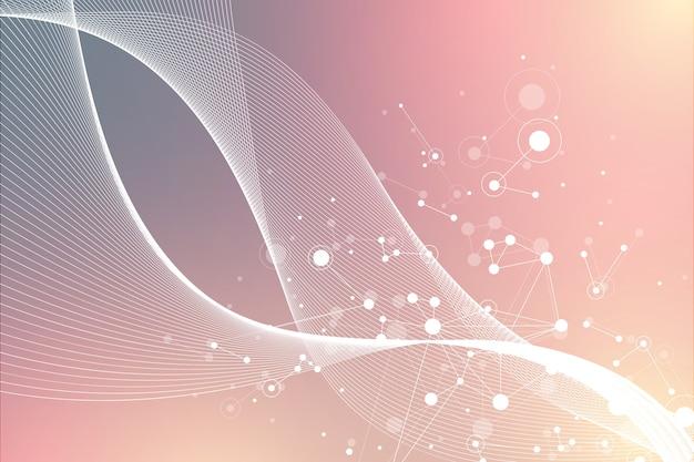 빅 게놈 데이터 시각화. dna 나선, dna 가닥, dna 테스트. 분자 또는 원자, 뉴런. 과학 또는 의료 배경, 배너, 그림에 대한 추상 구조.