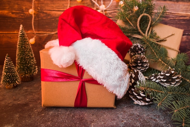 Big gift box with santa hat