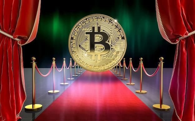 Большая золотая монета биткойнов на красной ковровой дорожке с бархатными шторами. концепция криптовалюты. 3d визуализация.
