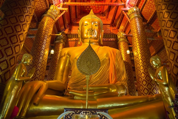 Big golden buddha statue in temple at wat phanan choeng worawihan temple, ayutthaya