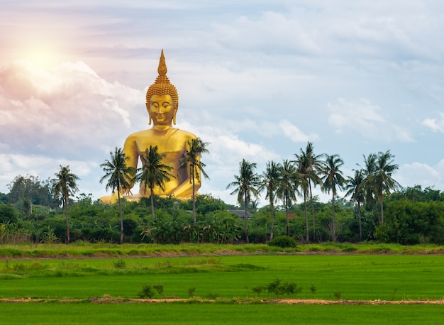 Big golden buddha statue at wat muang temple  angthong province