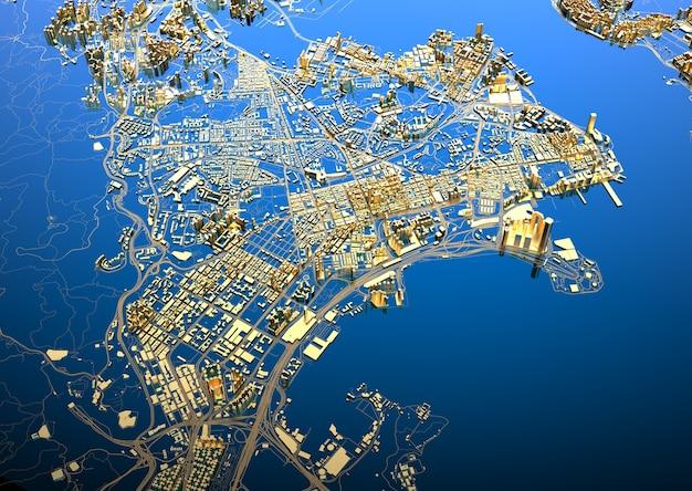 大きな黄金の街。カジュアルなグラフィックデザインのイラスト。香港の断片