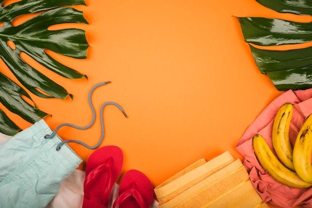 Большое зеленое растение оставляет возле бананов и летней одежды
