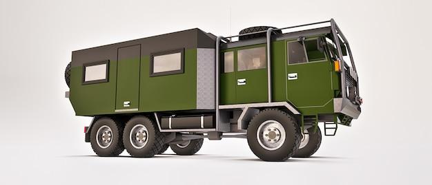 遠隔地での長く困難な遠征に備えて、大きな緑色のトラックが用意されました。車輪付きの家のあるトラック。 3dイラスト。