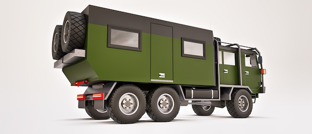 오지에서 길고 도전적인 탐험을 위해 준비된 대형 녹색 트럭. 바퀴에 집 트럭. 3d 그림. 프리미엄 사진