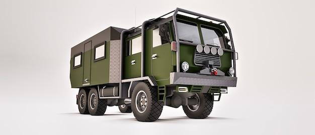 Большой зеленый грузовик подготовлен к долгим и сложным экспедициям в отдаленные районы. грузовик с домиком на колесах. 3d иллюстрации.
