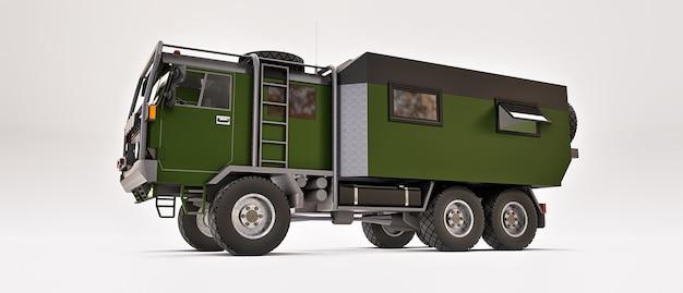 외딴 지역에서 길고 어려운 탐험을 위해 준비된 대형 녹색 트럭. 바퀴에 집이 있는 트럭. 3d 그림입니다.