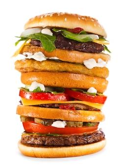 화이트에 큰 햄버거