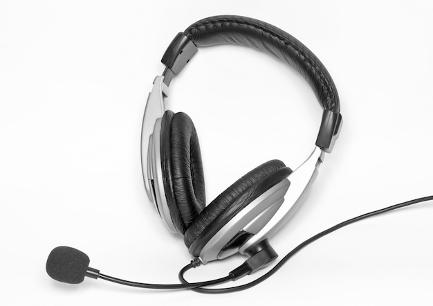 Big headset with a microphone. isolated over white
