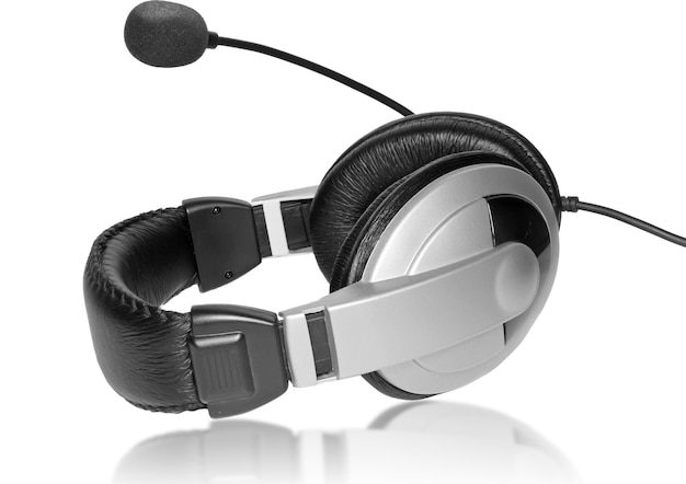 Big headset with a microphone. on plate glass. isolated