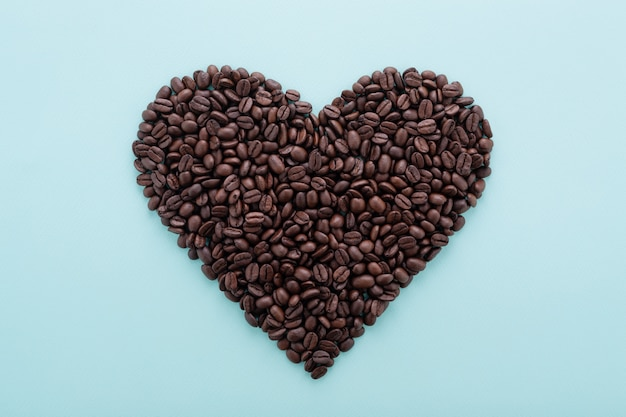 Big heart shape made of coffee beans