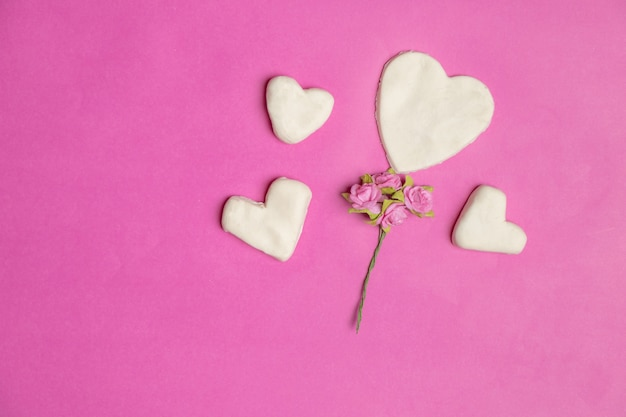 Big hearts on pink background with space for text, love icon, valentine's day