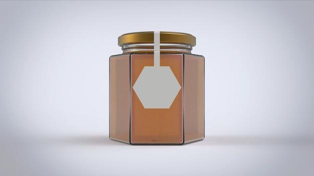 ヘキサゴンの白いラベルが付いた大きな honney jar