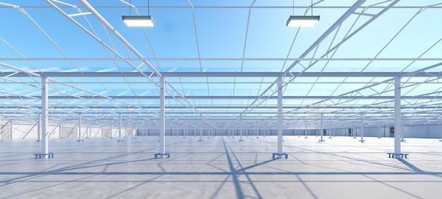 큰 산업 온실 인테리어입니다. 수경재배 실내 채소 공장. 그린샐러드 농장. 콘크리트 바닥. 3d 렌더링