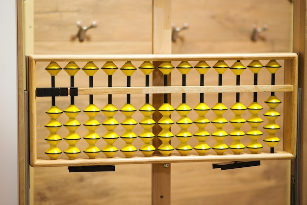 Big japanese abacus. mental arithmetic school. back to school concept. abacus for calculation, background.