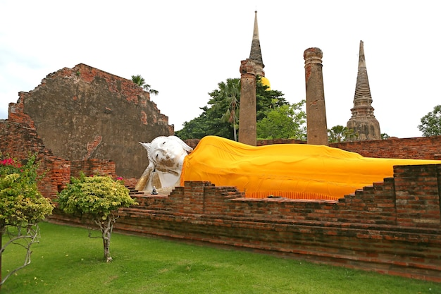 Big large white buddha sleep posture landmark in temple chaimongkol place of worship