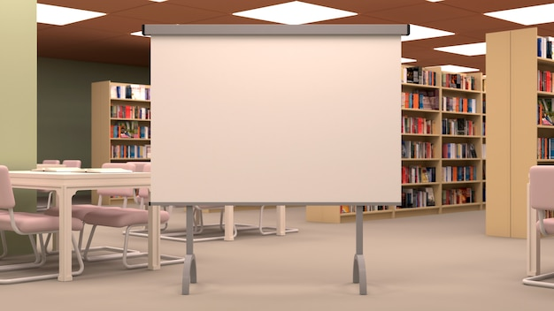 Big library with large projector screen, table, chairs and bookshelves.