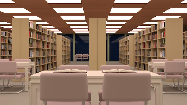 Big library with table, chairs and bookshelves.