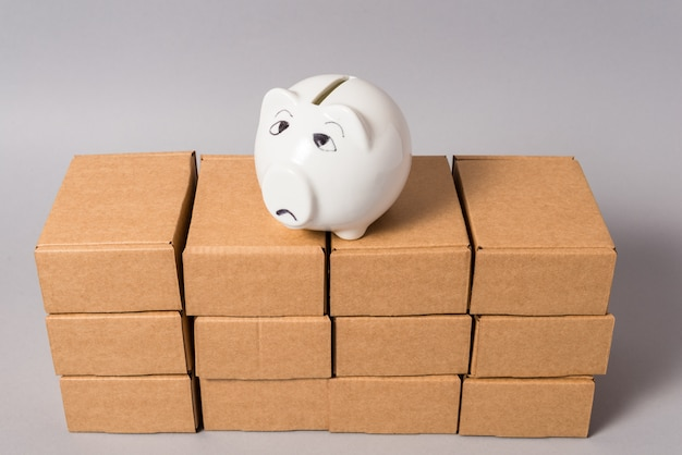 Big lot of brown cardboard mess boxes with empty piggy bank, no money concept