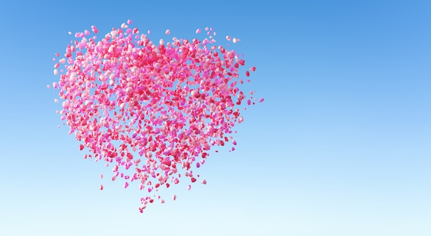 A big love heart composed of a bunch of love balloons. valentine's day and wedding design concept background. 3d rendering.
