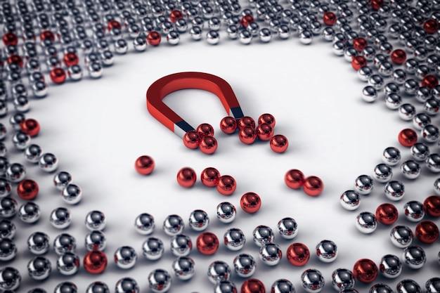 Большой магнит притягивает только красные шары