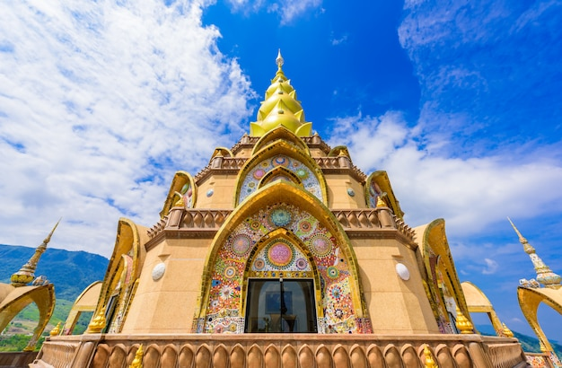 Big main pagoda in wat phra that pha son kaew