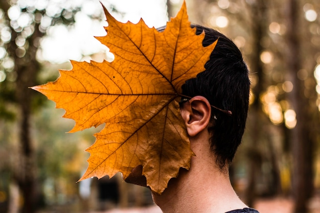 Big maple leaf on the head of young boy