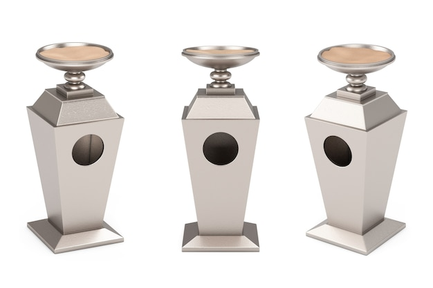 Big metal industrial hotel smoking area outdoor ashtray with sand on a white background. 3d rendering